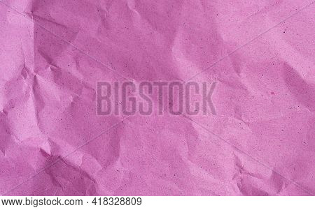 Pink Crumpled Kraft Background Paper Texture In High Resolution, Crumpled Paper Pattern For Text, Ba