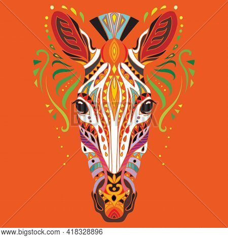 Head Of Zebra With Doodle And Zentangle Elements. Abstract Vector Colorful Illustration Isolated On