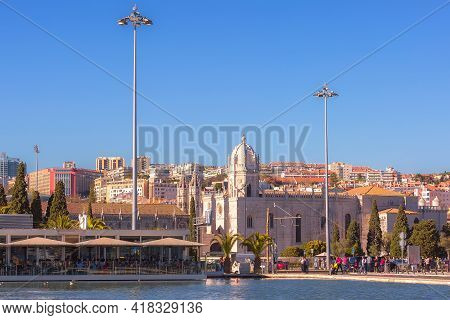 Lisbon, Portugal - March 27, 2018: The Jeronimos Monastery Or Hieronymites Monastery And People In O