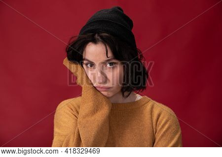 Cute Confused Woman, Upset Girlfriend, Burnout Female Person On Red Background
