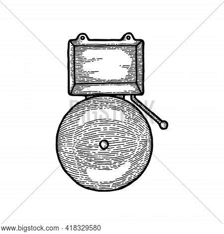 Monochrome Ringing Alarm Fire Alarm System Signal Device Isolated On White, Vintage Vector Illustrat