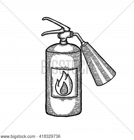 Vintage Fire Extinguisher Sketch Engraving Style Vector Illustration. Old Hand Drawn Imitation. Vint