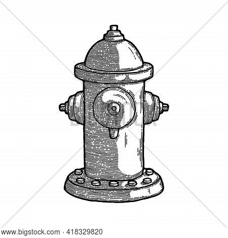 Vintage Fire Hydrant Sketch Engraving Style Vector Illustration. Old Hand Drawn Imitation. Vintage O