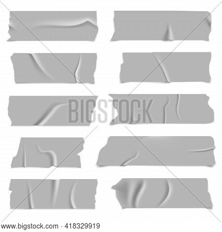 Silver Adhesive Tapes. Gray Metallic Colored Strips, Crumpled Glued Paper Sticky Pieces, Packaging U