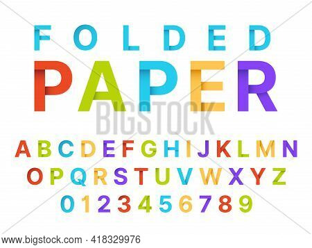 Paper Folding Alphabet. Origami Style Color English Language Font, Craft Letters And Numbers, Decora