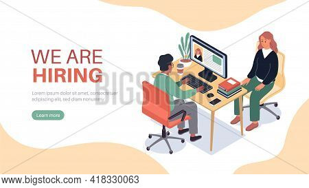 Isometric Hr Employer Interview. Job Finding, Professional In Applicants Office, Hiring Recruitment,