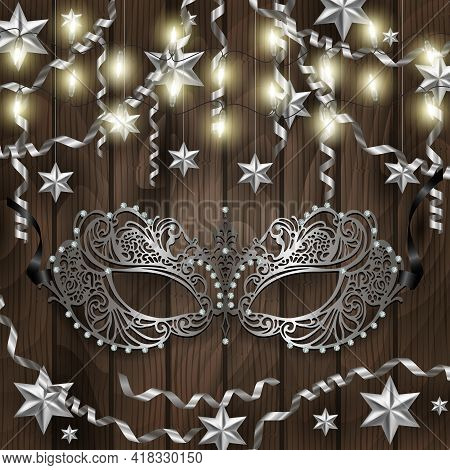 Illustration Of Card Template With Carnival Mask, Lights, Silver Stars, Streamers And Wooden Backgro