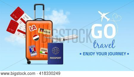 Travel Banner. Realistic Plastic Luggage Bag On Wheels, Two Tickets, Foreign Passport And Plane On B