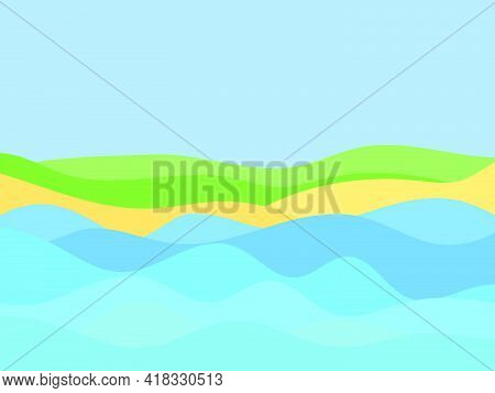 Seashore In A Minimalistic Style. Wavy Landscape From The Sea To The Shore. Waves And Beach In A Fla