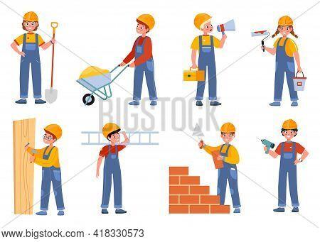 Children Builders. Engineer Characters Kids, Worker Professionals In Overalls, Young Constructors Wi
