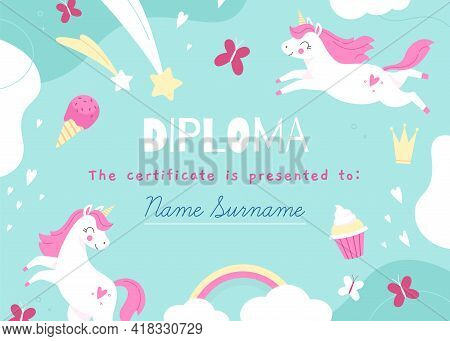 Unicorns Frame. Kids Diploma Template With Magic Items, Fairy Creatures, Rainbow And Sweets, Mythica