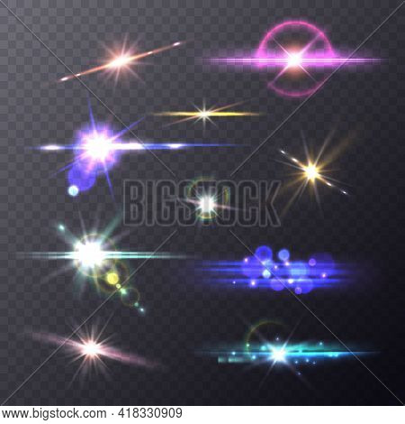 Lens Flare Effects. Realistic Lights Camera Flashes, Shining Overlay Elements, Artistic Bokeh Backgr