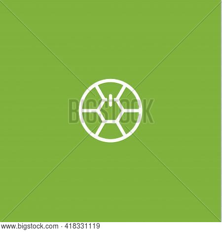 Power Button On Soccer Ball In Linear Style, Logo Template For Soccer Club, Competition And Sports G