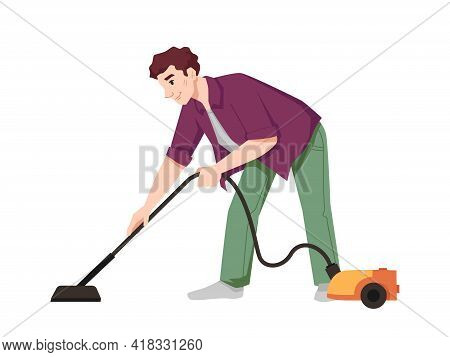 Guy Vacuums Flat With Vacuum Cleaner Isolated Flat Cartoon Character. Male Doing Housework Chores, H