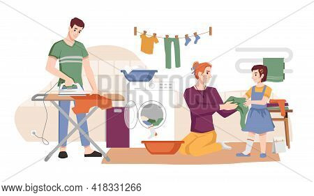 Family Washes Clothes, Dries And Iron Apparel Flat Cartoon Characters. Mother, Father And Daughter D