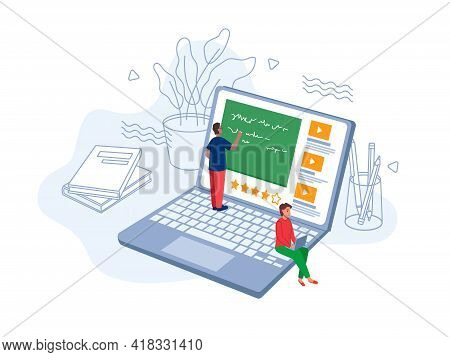 E-learning Online Study, Exams On Distance Education, Studying And Learning Using Modern Computer Te