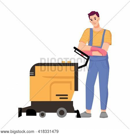 Male Personage Working In Cleaning Service Using Machine For Washing Floor Or Vacuum Carpets. Home O