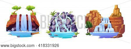 Waterfall Landscapes Set Isolated Cartoon Icons. Streaming Water From Rocky Mountains, Jungle Hills,