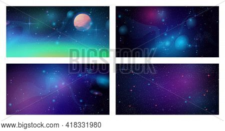 Space Galaxy Backgrounds Set. Cosmos Universe Textures, Deep Purple Sky With Stars And Planets, Dark