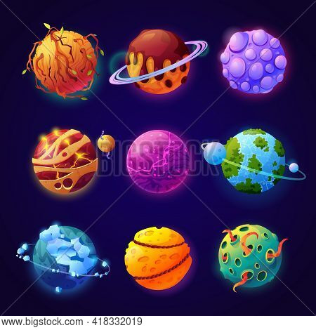 Cosmos With Fictional Fantasy Planets With Orbits And Satellites. Set Of Celestial Bodies, Asteroids