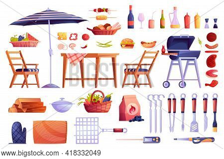 Grill And Barbecue Icons Set, Food And Grilling Equipment Isolated. Bbq Meat, Skewers Forks, Table A