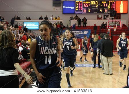 JAMAICA-FEB 2: Connecticut Huskies guard Bria Hartley (14) heads to the locker room after beating the St. John's Red Storm at Carnesecca Arena on February 2, 2013 in Jamaica, Queens, New York.