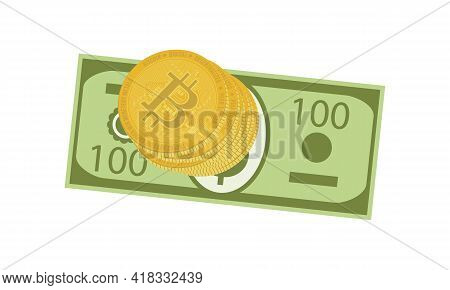 Investment Currencies - Us Dollar And Virtual Bitcoins Isolated On White Background. Stack Of Gold C