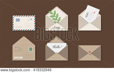 Set Of Six White, Beige And Craft Envelopes With Postage Stamps. Messages Hello, Sorry And Olive Bra