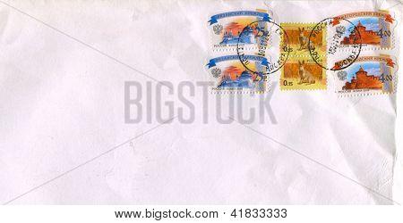RUSSIA - CIRCA 2009: Mailing envelope from Russia with postage stamps dedicated to: Nizhny Novgorod Kremlin, Ryazan Kremlin and Rat, circa 2009.