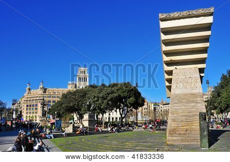 BARCELONA, SPAIN - JANUARY 25: Macia Monument in Plaza Cataluna on January 25, 2013 in Barcelona, Spain. This monument designed by Subirachs in honor of president dominates the square, the city center
