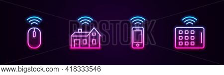 Set Line Wireless Mouse, Smart Home With Wireless, Smartphone And Tablet. Glowing Neon Icon. Vector