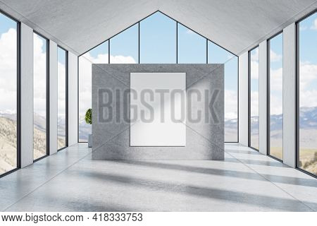 Big Stone Grey Wall With A White Blank Poster In A Bright Room With Big Panoramic Triangular Shaped