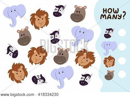Counting Game For Preschool Kids. Educational Math Game. Count How Many Wild Animals There Are And W