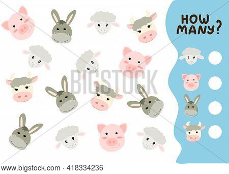 Counting Game For Preschool Kids. Educational Math Game. Count How Many Farm Animals There Are And W