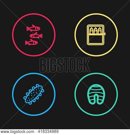 Set Line Sea Cucumber, Fish Steak, Canned Fish And Fishes Icon. Vector