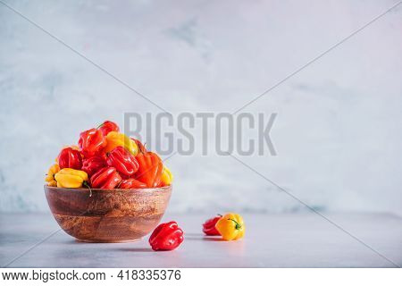 Colorful Scotch Bonnet Chili Peppers In Wooden Bowl Over Grey Background. Copy Space.