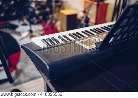 Electronic Piano In Professional Recording Studio.enjoying Music