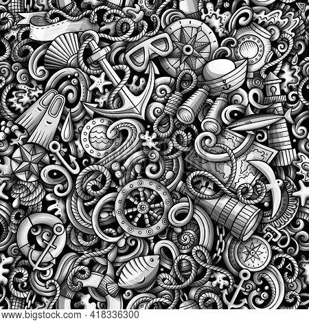Cartoon Doodles Nautical Seamless Pattern.