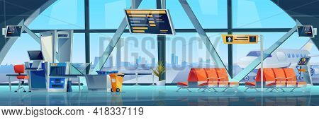 Vector Airport Interior Waiting Hall, Departure Arrival Lounge Zone, Transport Security X-ray Scan T
