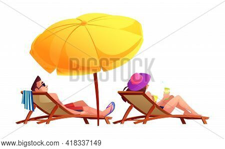 People Sunbathe And Drink Cocktails On Sun Loungers Under Umbrella Isolated Cartoon Characters. Vect