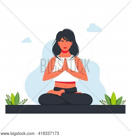 Woman In Lotus Position And Meditating In Nature And Leaves. Concept Illustration For Yoga, Meditati