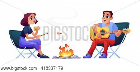 Cartoon Happy Couple Campers People Sitting At Campfire Together, Singing Song, Playing Guitar And M