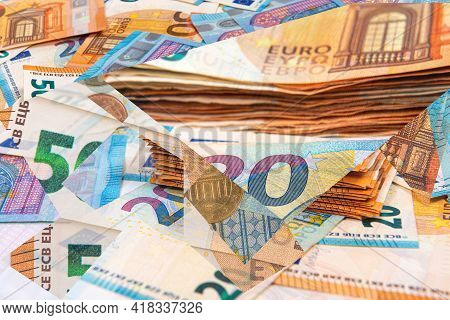 Abstract Background From Euro Banknotes, The Concept Of Business, Finance, Wealth And Prosperity, Cl