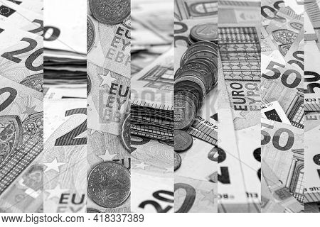 Abstract Black And White Background From Euro Banknotes, The Concept Of Wealth And Prosperity