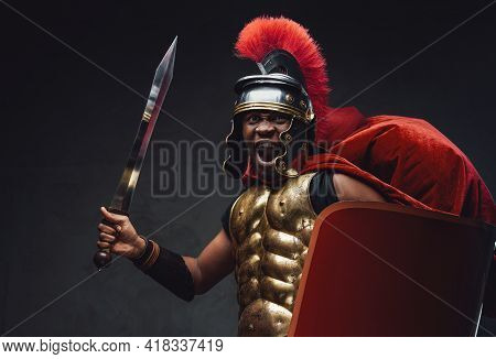 Furious African Warrior With Sword And Shield Going To Battle