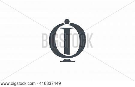 Oi Or Io Letter Logo Isolated On White Background.