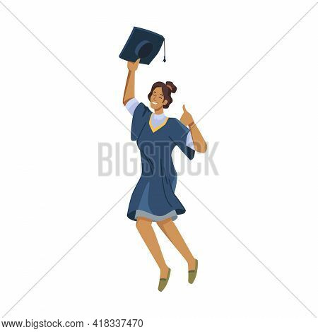 Happy Afro American Woman Student Leaping Of Joy In Academic Gown, Mortarboard Cap In Hands Isolated