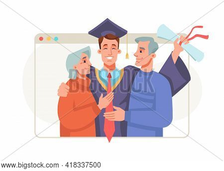 Graduation Ceremony Online, Master Or Bachelor Students Get Congratulations From Parents. Happy Cart
