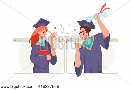 Graduation Video Conference In Laptop, College Or University High School Student With Diplomas In Ha