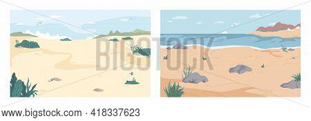 Landscape, Cartoon Summer Beach Set. Vector Paradise Nature Vacation, Ocean Or Sea Seashore With San